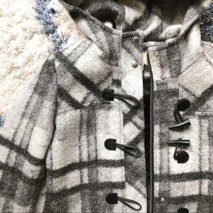 Michael Kors Wool Plaid Toggle Coat